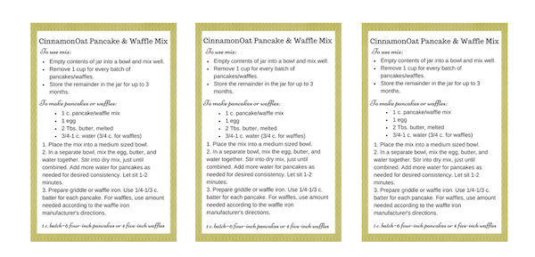 Cinnamon Oat Pancake & Waffle Mix Printable Labels