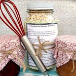 Cinnamon-Oat Pancake and Waffle Mix gift-in-a-jar with homemade syrup.