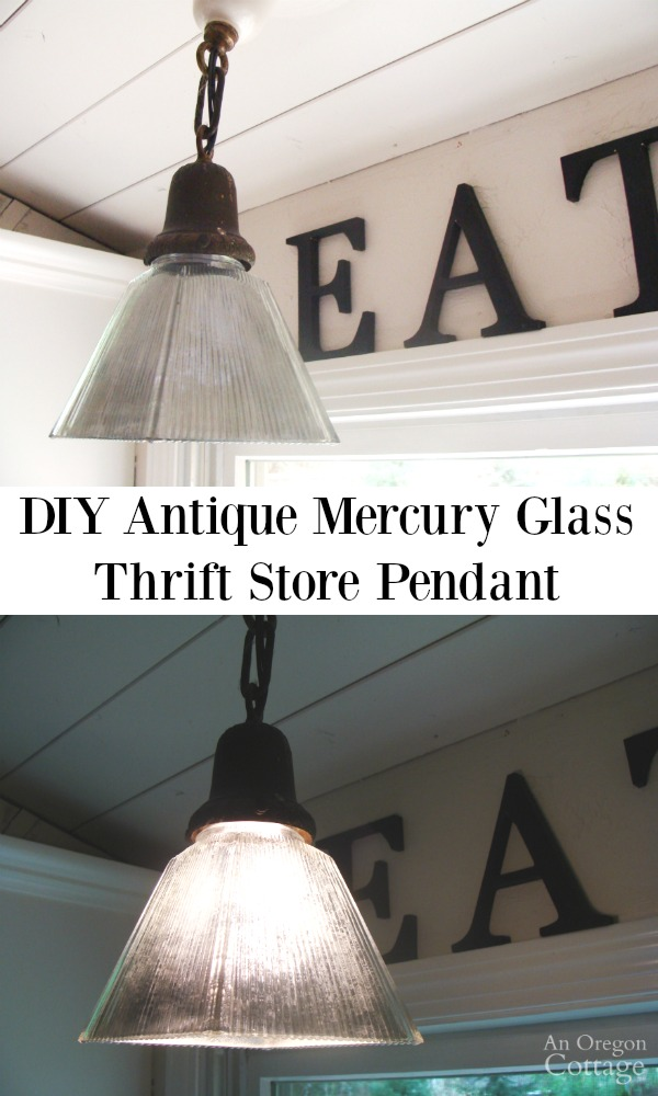 mercury glass lighting fixtures. diy antique mercury glass pendant from a thrift store shade
