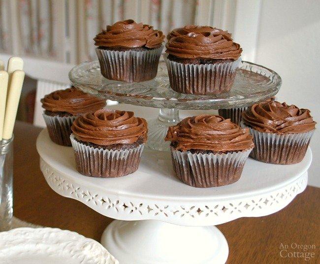 Dark Chocolate Zucchini Cupcakes