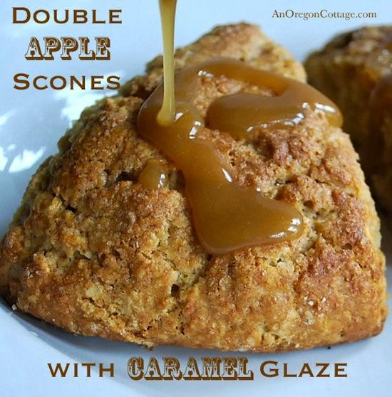 Double Apple Scones with Caramel Glaze