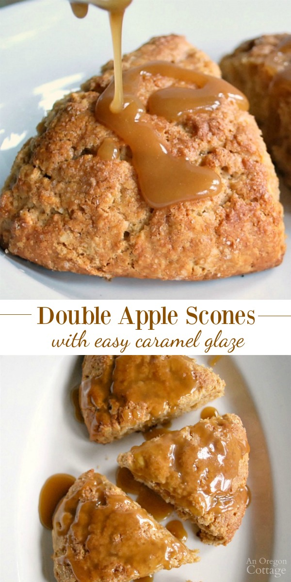 Double Apple Scones with easy caramel glaze pin
