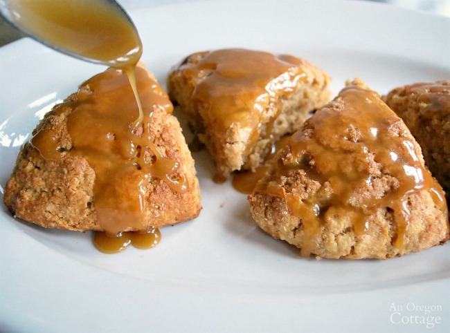 Easy Double Apple Scones with Caramel Glaze