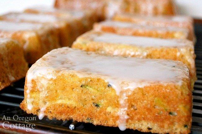 Glazed zucchini lemon loaf close