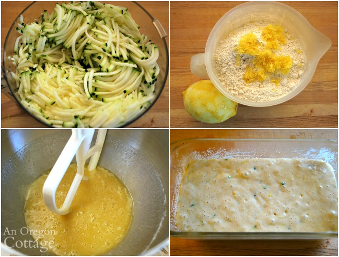 Making zucchini lemon bread