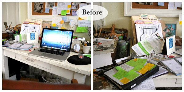 Messy Desk Before - An Oregon Cottage