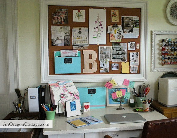 Organized Desk and Inspiration Board After - An Oregon Cottage