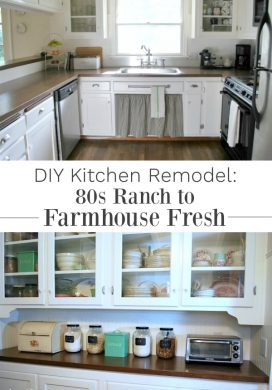 See how we turned our 80s ranch kitchen into an age-neutral farmhouse kitchen through easy DIYs.