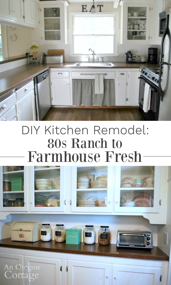 DIY Kitchen Remodel-See how we turned our 80s ranch kitchen into an age-neutral farmhouse kitchen through easy DIYs.
