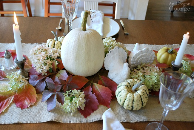 Simple, White, Natural Thanksgiving tablescape centerpiece