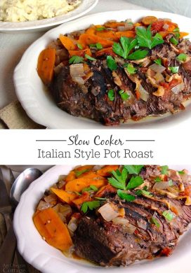 Take a few minutes to put the ingredients for Slow Cooker Italian Style Pot Roast in your slow cooker this morning and you'll have an amazing dinner all done! Even better with garlicky mashed potatoes. Yum!!
