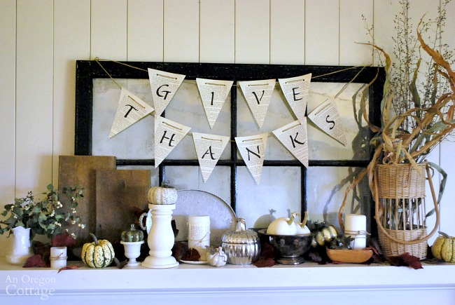 Thanksgiving mantel to coordinate with Thanksgiving tablescape