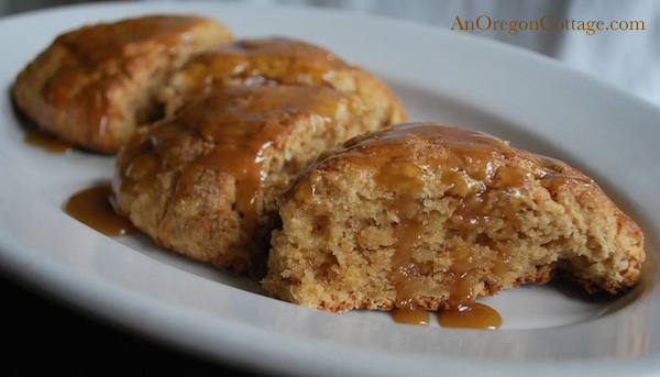 Double Apple Scones with Caramel Glaze