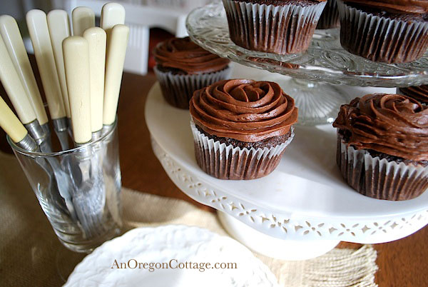 Chocolate Zucchini Cupcake on Stand