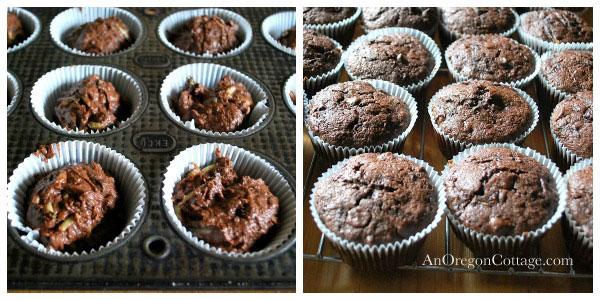 Making Dark Chocolate Zucchini Cupcakes