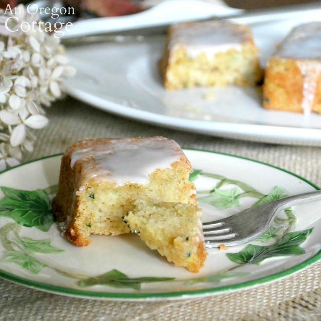 zucchini-lemon-bread on plate