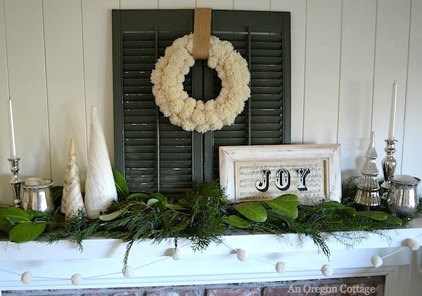2013 White-Green Christmas Mantel with Wool Pom Pom Wreath and Garland