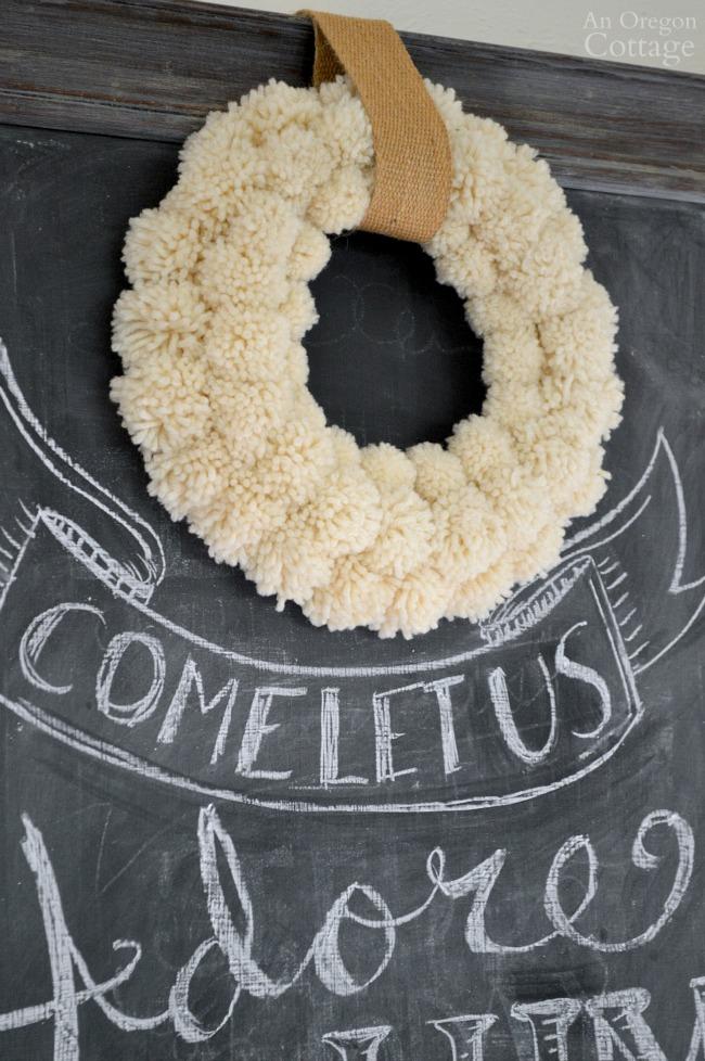 2015 Wool Pom-Pom Wreath-Christmas Chalkboard