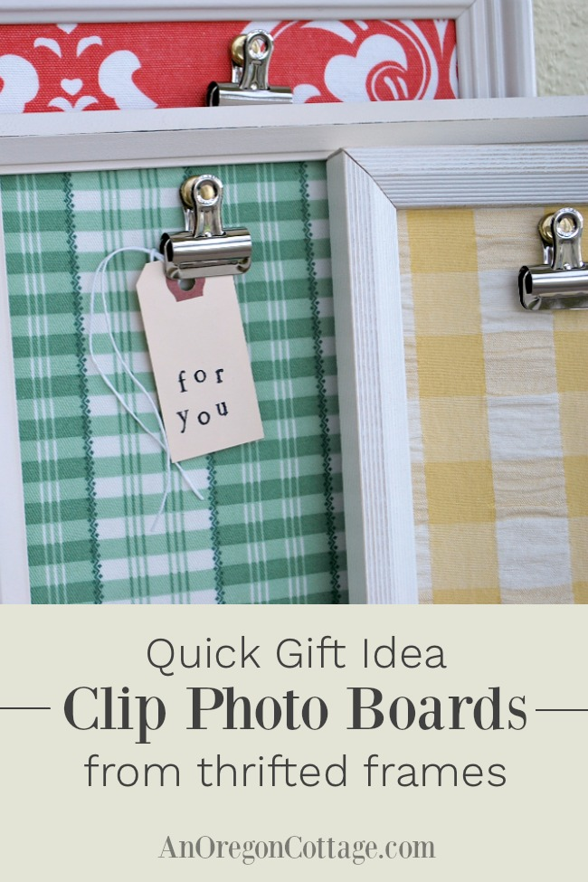 Clip photo boards from thrifted frames