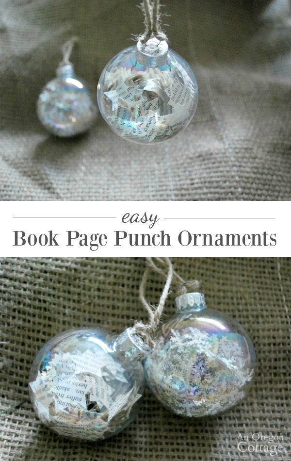 Create easy Christmas ornaments with book pages and punches. Makes a great kid craft, too!