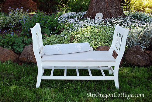 French-styled bench from broken chairs