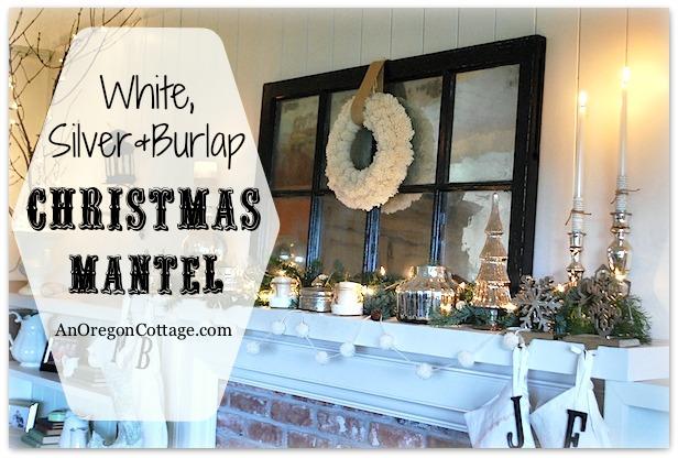 White-Silver-Burlap-Mantel