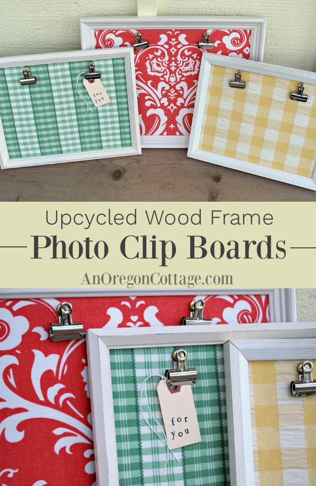 upcycled wood frame photo clip boards