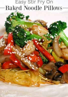 Easy stir fry on Baked Noodle Pillows