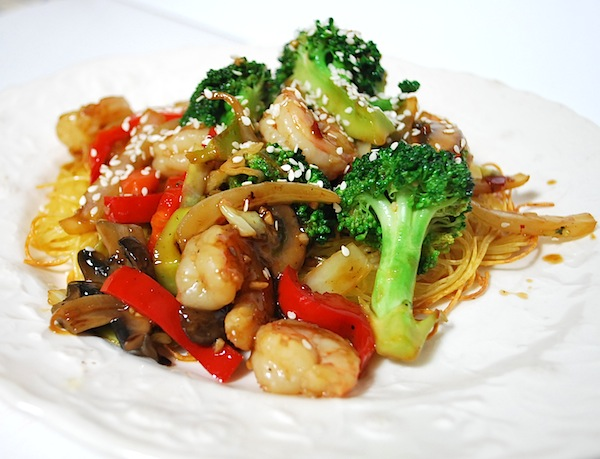 Weeknight Stir Fry on Baked Noodle Pillows on white plate.
