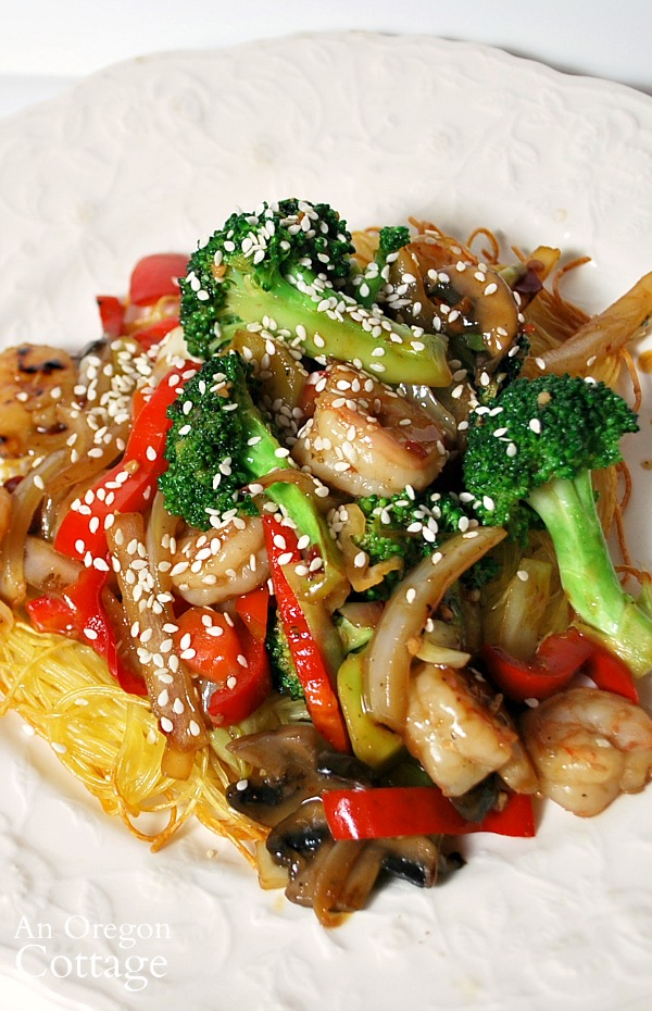stir fry and noodles on plate