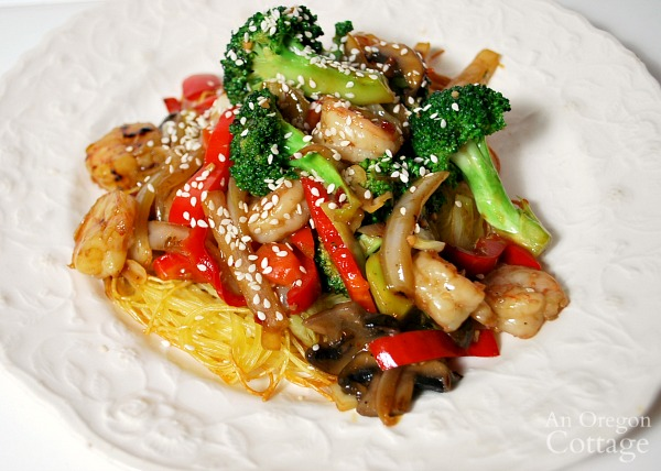 stir fry on noodle pillows