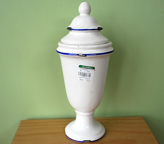 thrift store apothecary jar-before