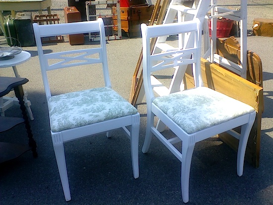 white-green chairs