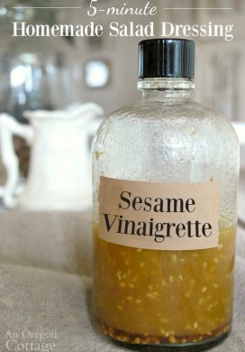Homemade Sesame Vinaigrette Salad Dressing bottle
