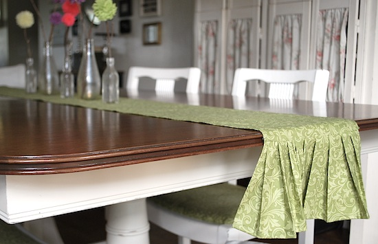 table runner with pom-pom flowers