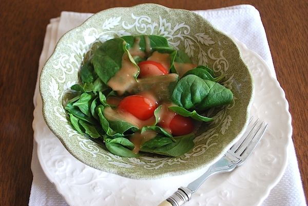 Rhubarb Chutney Dressing on salad