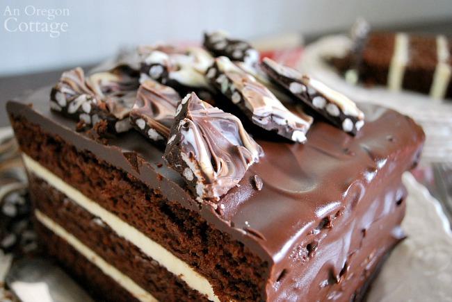 Triple Chocolate Cake Crispy Bark Topping up close