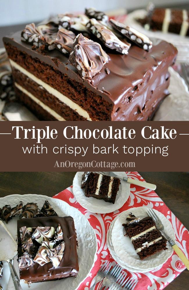 Triple Chocolate Cake Crispy Bark Topping