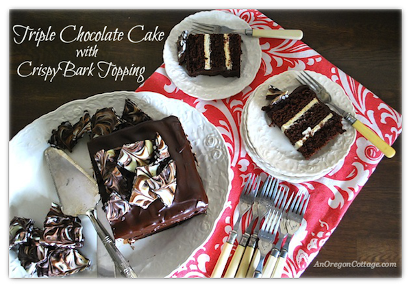 Triple Chocolate Cake with Bark Topping