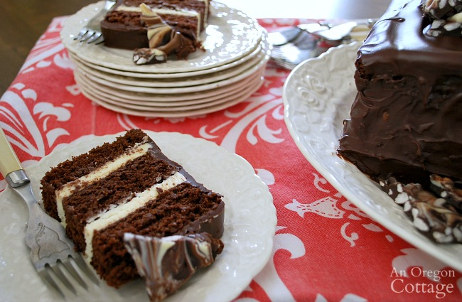 Triple Chocolate Cake with Crispy Bark Topping on plates