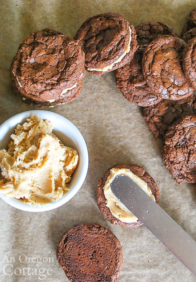 filling peanut butter brownie sandwich cookies