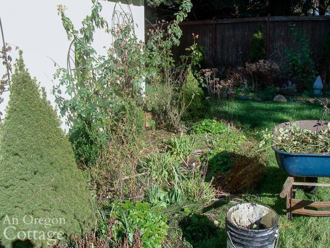 trellis flower bed before