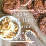 fudgy peanut butter brownie sandwich cookies