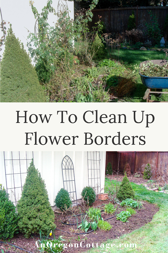 how to clean up flower borders