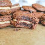 peanut butter brownie sandwich cookies-bite