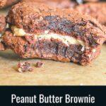 peanut butter brownie sandwich cookies pin