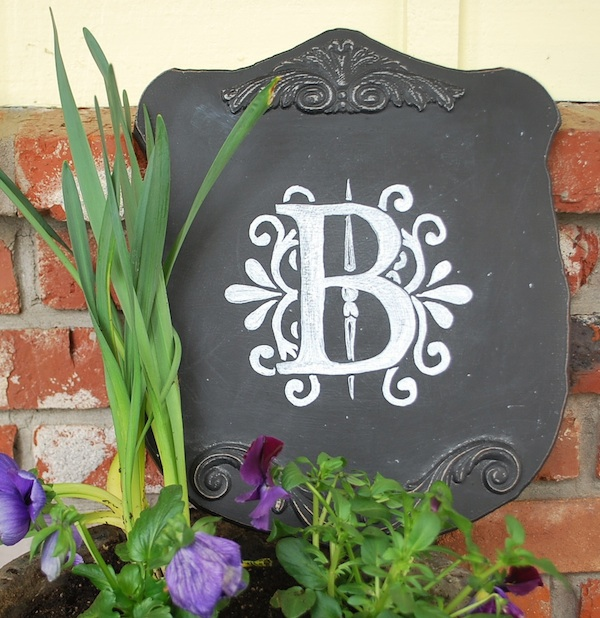 chalkboard monogram plaque