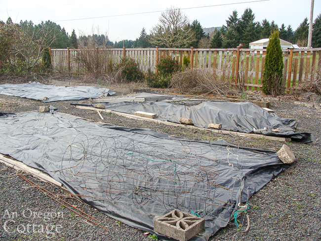 plastic weed barriers on top of vegetable beds