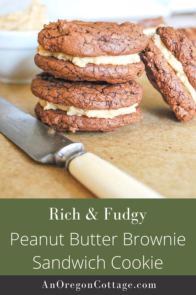 rich peanut butter brownie sandwich cookies pin