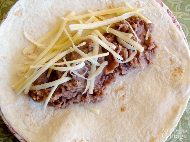 Bean-cheese burrito with easy refried beans recipe